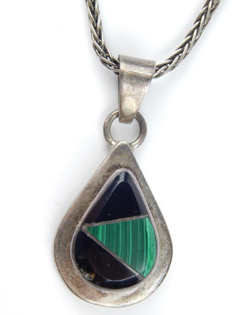 MEXICAN MALACHITE ONYX STERLING PENDANT & NECKLACE