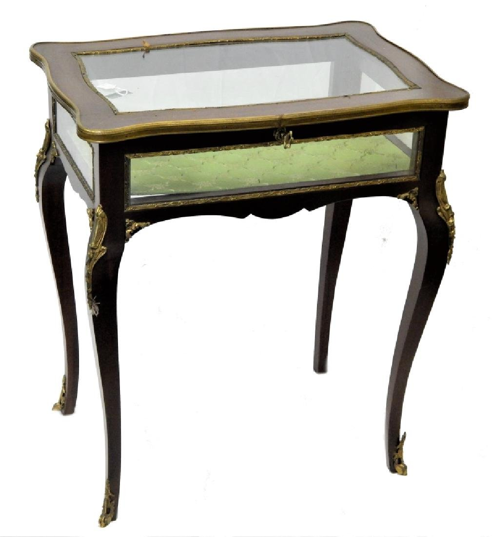 LOUIS XV ORMULU MOUNTED WOOD & GLASS VITRINE TABLE