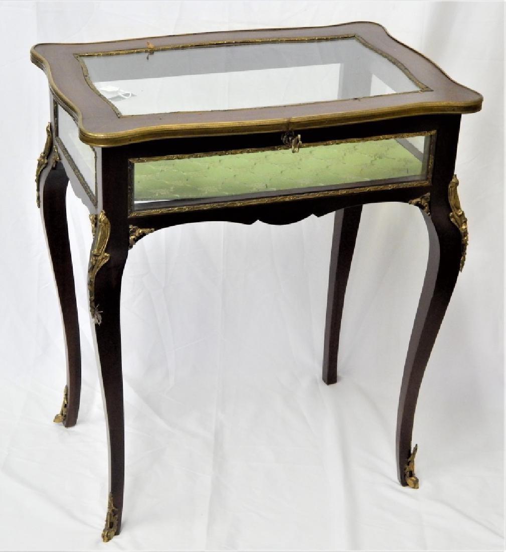 LOUIS XV ORMULU MOUNTED WOOD & GLASS VITRINE TABLE - 2