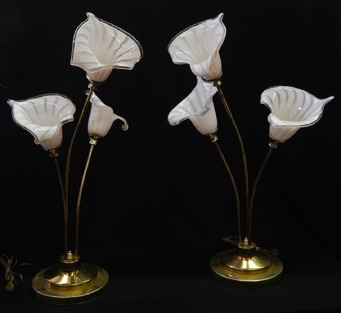MID CENTURY MURANO GLASS SHADE FLORAL STEM LAMPS