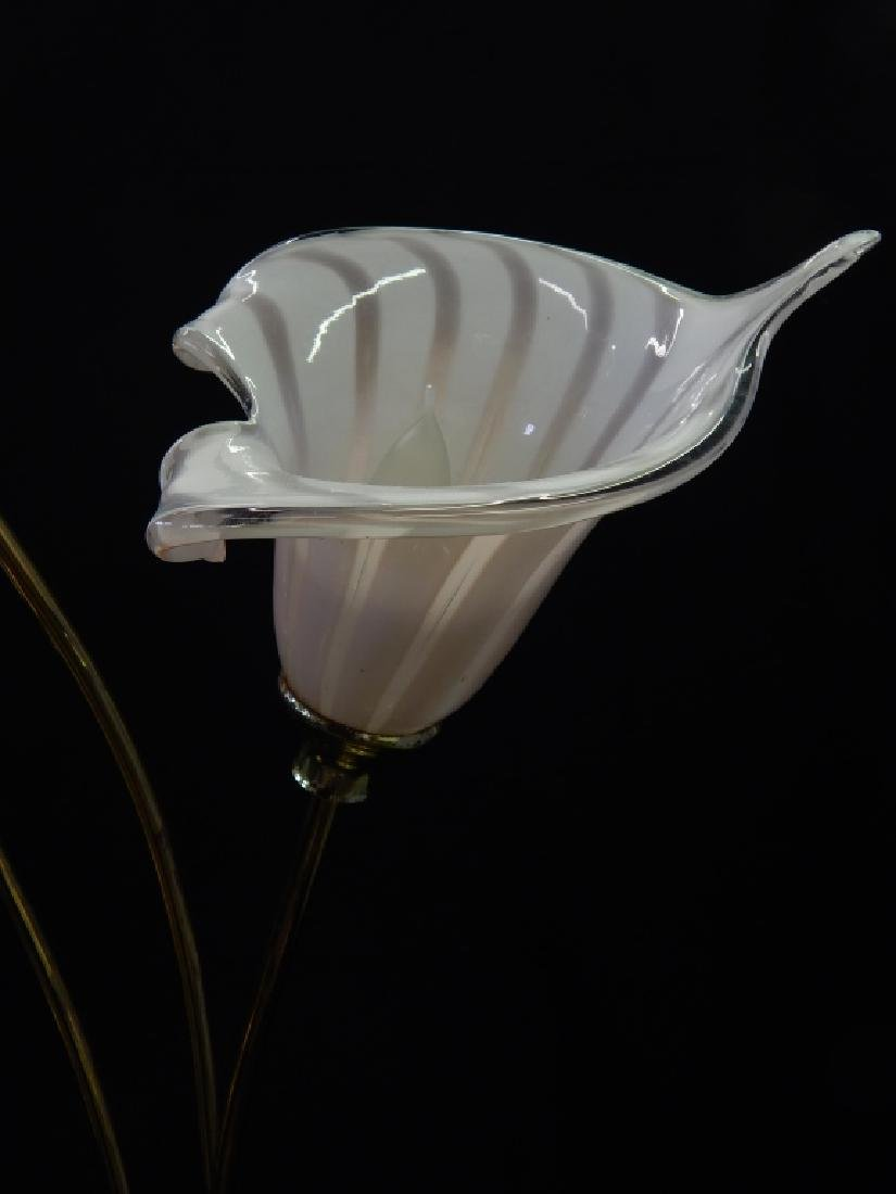 MID CENTURY MURANO GLASS SHADE FLORAL STEM LAMPS - 2