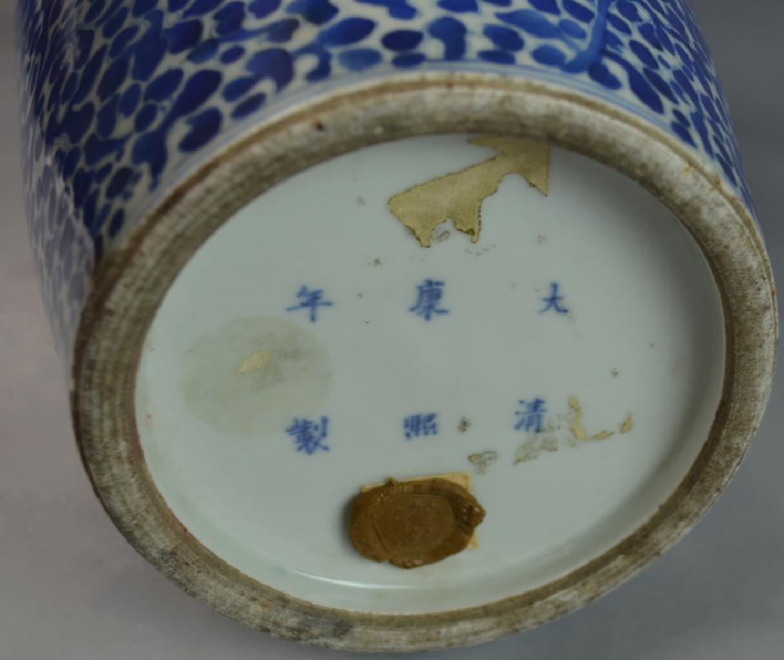 CHINESE KANGXI BLUE & WHITE FLORAL PHOENIX VASE - 5