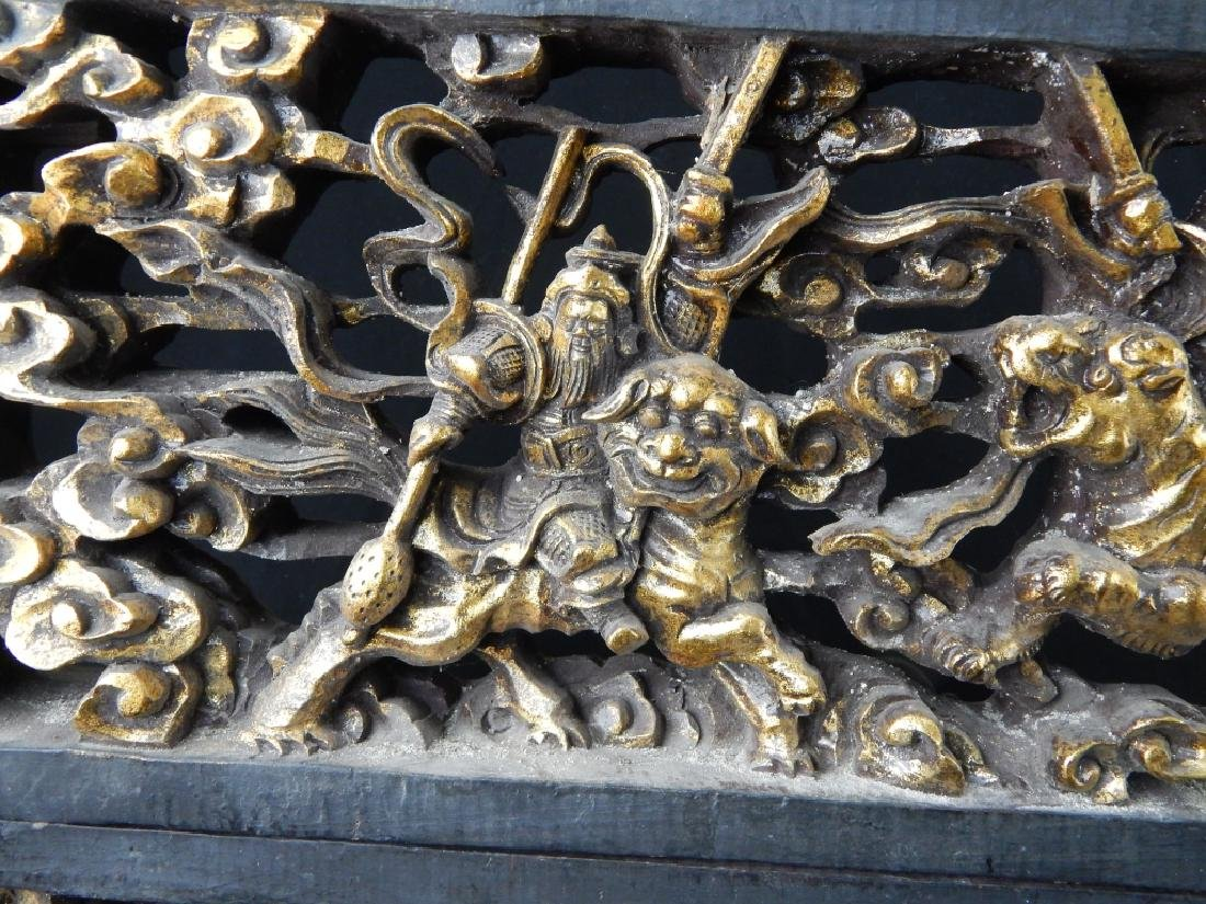 ANTIQUE CHINESE CARVED GILT WOOD TEMPLE CARVINGS - 2