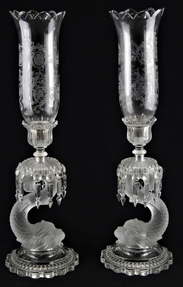 2 BACCARAT CRYSTAL DOLPHIN CANDLE HOLDERS w SHADES