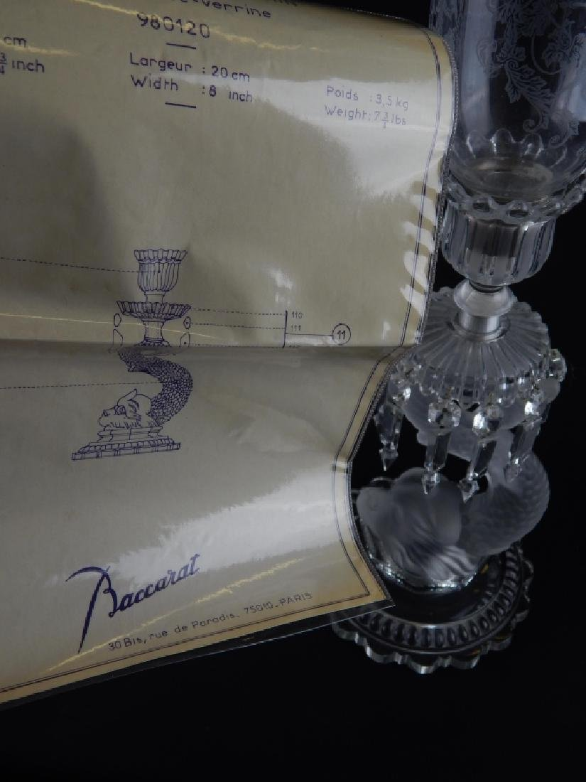2 BACCARAT CRYSTAL DOLPHIN CANDLE HOLDERS w SHADES - 9