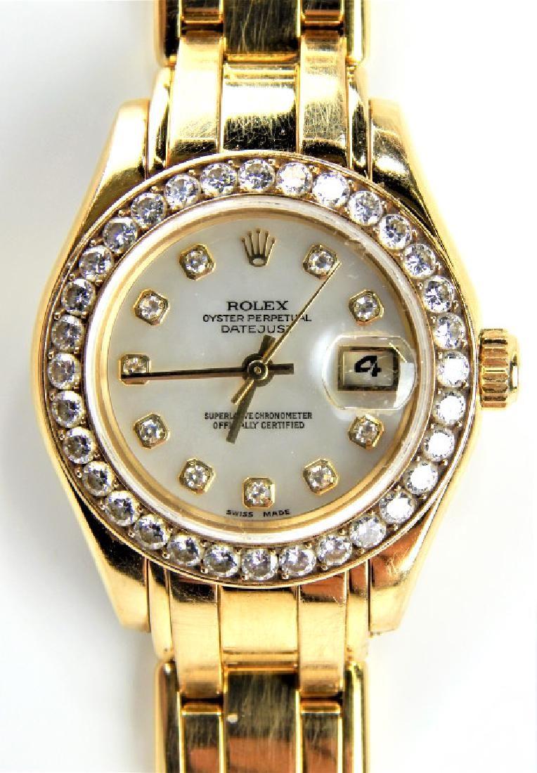 LADIES ROLEX 18K DIAMOND BEZEL DATEJUST MASTERPIECE