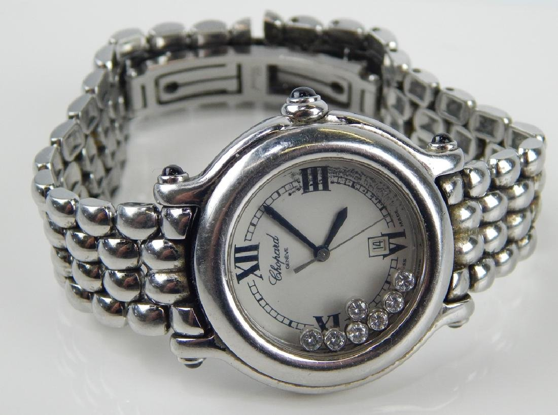 LADIES CHOPARD HAPPY SPORT DIAMOND SS DATE WATCH - 2