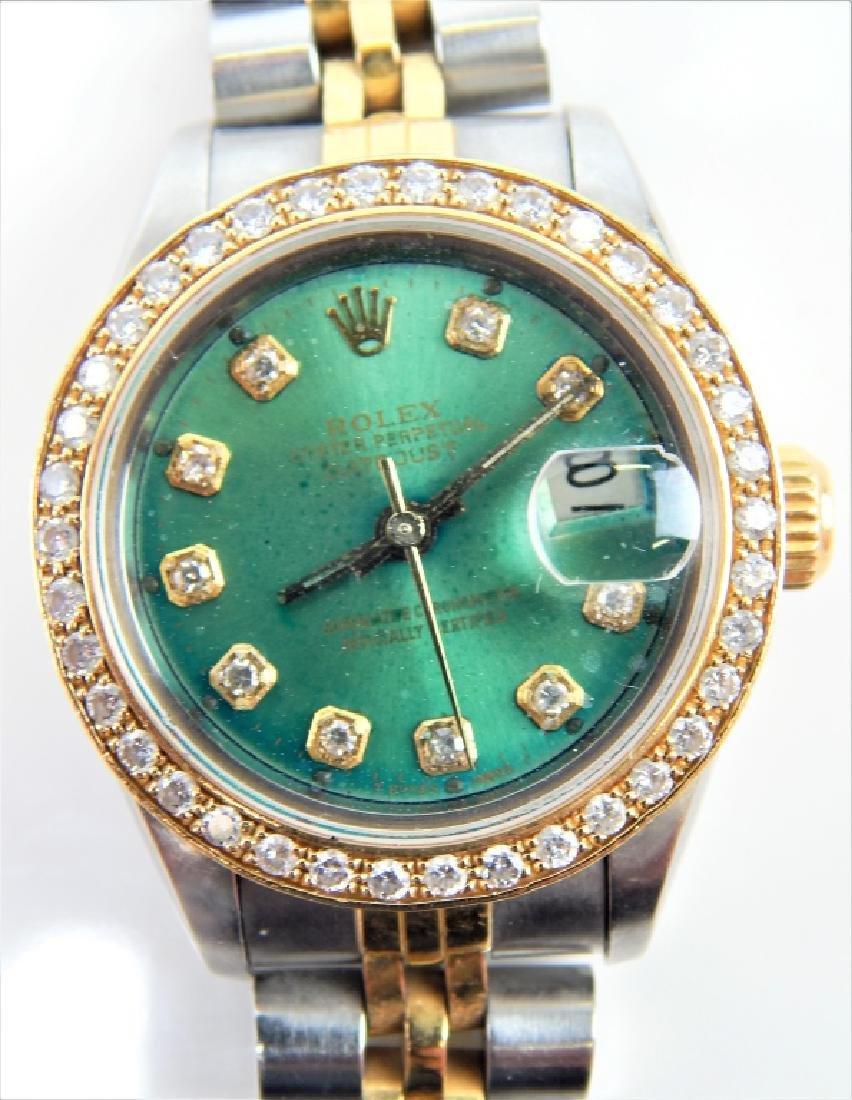 ROLEX LADY DATEJUST DIAMOND SS & 18K WATCH