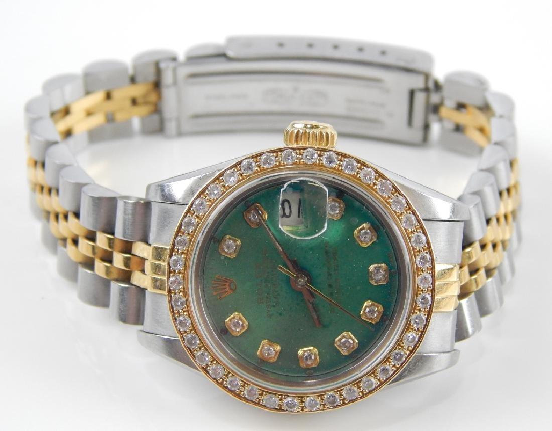 ROLEX LADY DATEJUST DIAMOND SS & 18K WATCH - 4