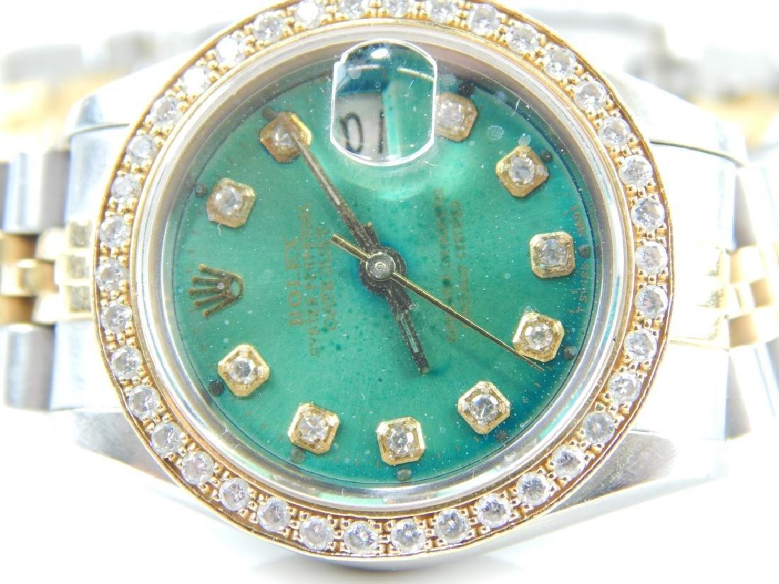 ROLEX LADY DATEJUST DIAMOND SS & 18K WATCH - 5