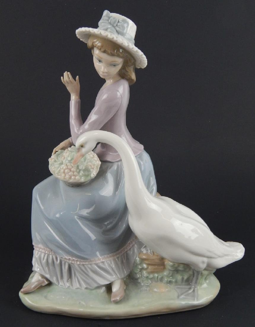 LLADRO FIGURINE GIRL SWAN DUCK EATING FLOWERS