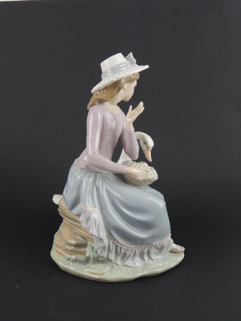 LLADRO FIGURINE GIRL SWAN DUCK EATING FLOWERS - 3