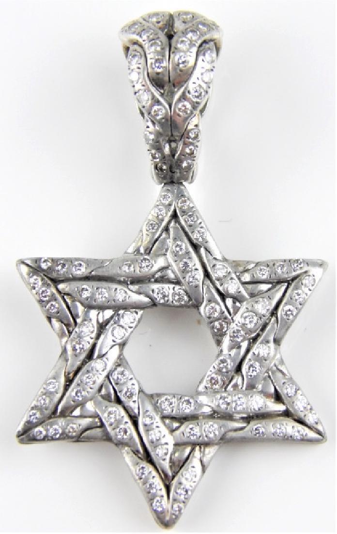 JOHN HARDY DIA 18K STERLING STAR OF DAVID PENDANT