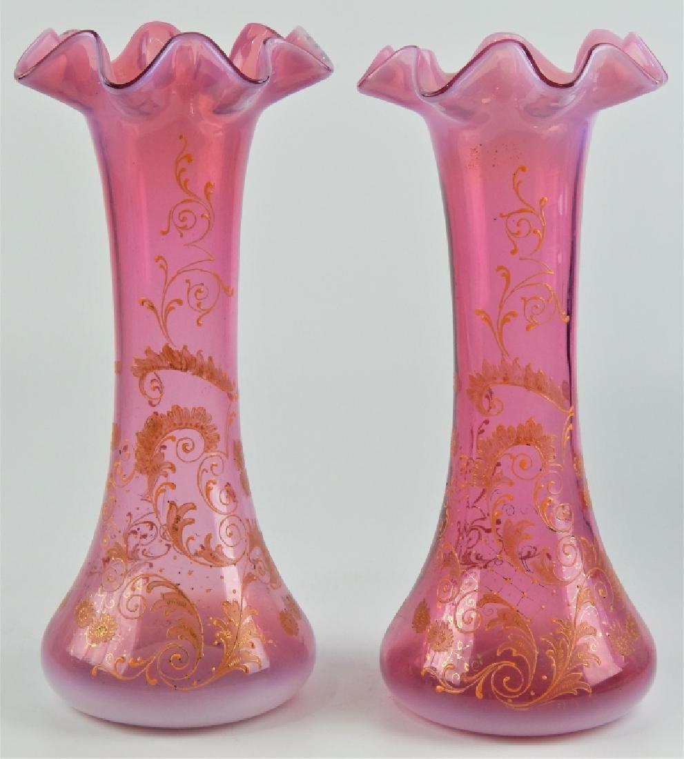 PAIR MOSER STYLE ENAMELED GLASS VASES