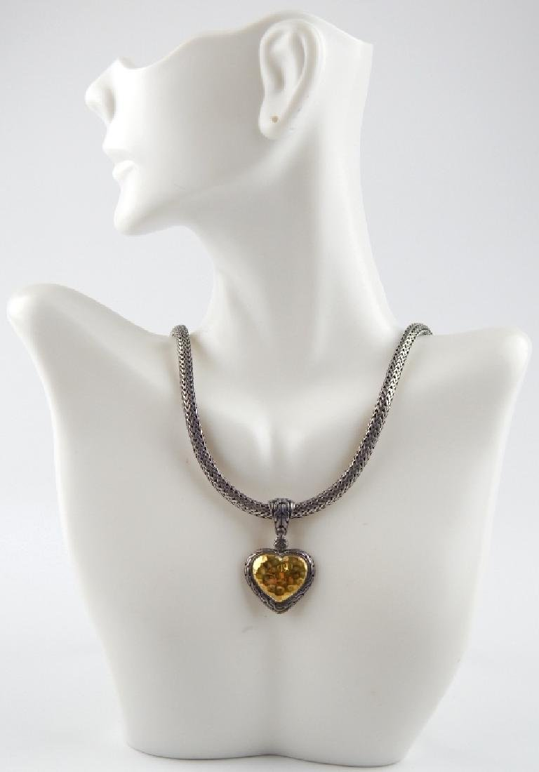 JOHN HARDY 22K STERLING HEART PENDANT & NECKLACE