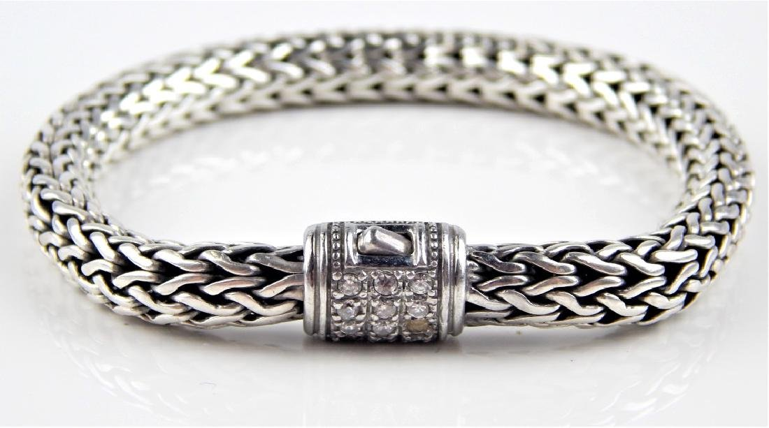 JOHN HARDY STYLE DIAMOND STERLING WHEAT BRACELET