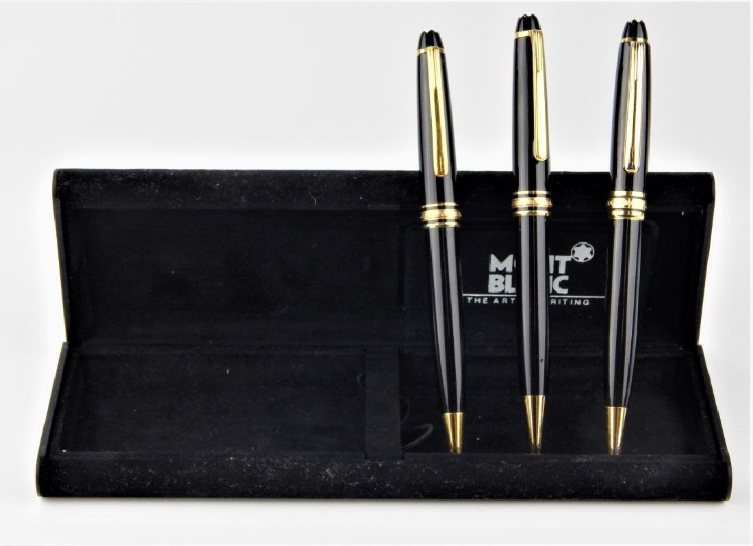 3 MONTBLANC MEISTERSTUCK WRITING ITEMS w CASES