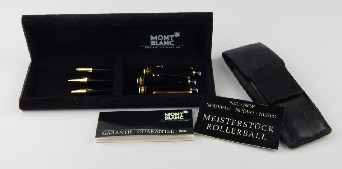 3 MONTBLANC MEISTERSTUCK WRITING ITEMS w CASES - 3