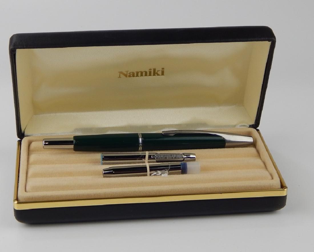 NAMIKI GREEN PUSH BUTTON NIB FOUNTAIN PEN w BOX