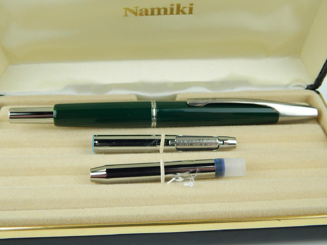 NAMIKI GREEN PUSH BUTTON NIB FOUNTAIN PEN w BOX - 2
