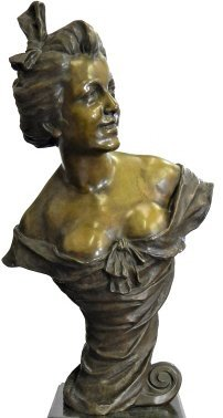LARGE FRENCH BRONZE BUST OF SMILING WOMAN