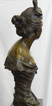 LARGE FRENCH BRONZE BUST OF SMILING WOMAN - 2