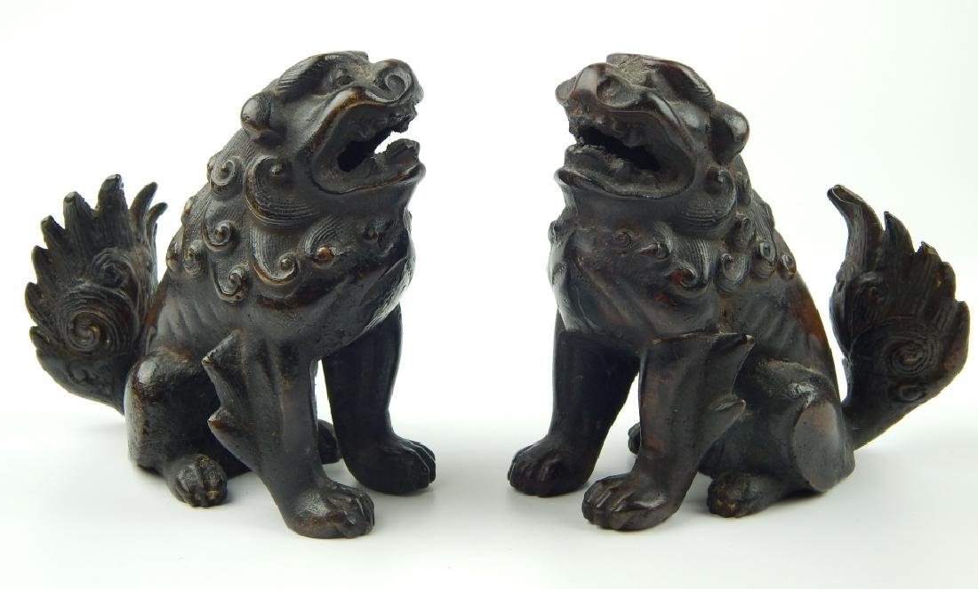 PAIR VINTAGE CHINESE BRONZE FOO DOGS