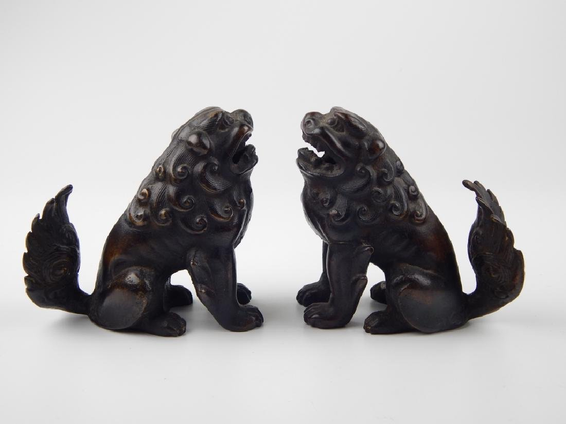 PAIR VINTAGE CHINESE BRONZE FOO DOGS - 2