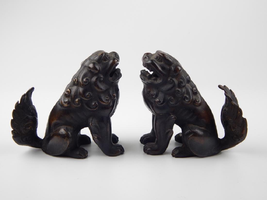 PAIR VINTAGE CHINESE BRONZE FOO DOGS - 2