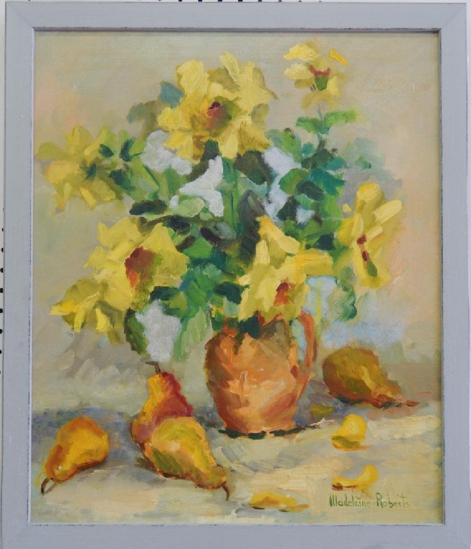 MADELEINE ROBERTS STILL LIFE FLORAL OIL ON CANVAS