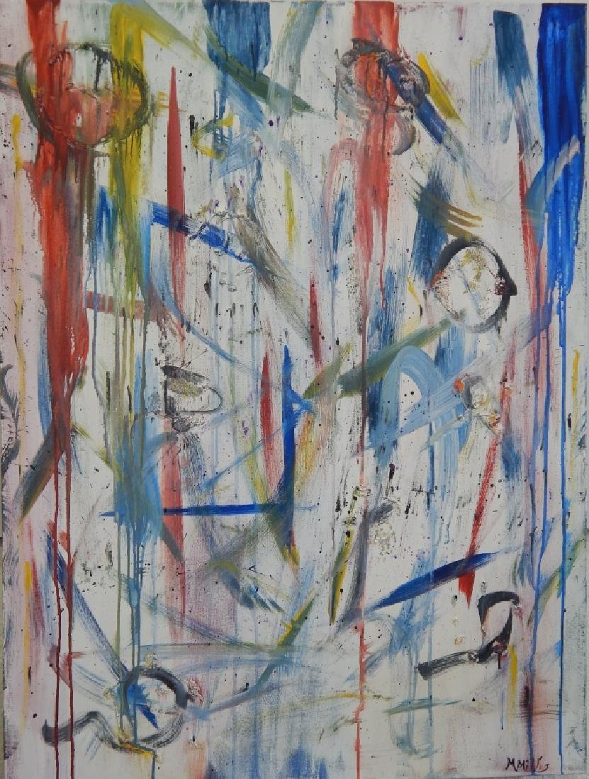 M MILLIS ABSTRACT OIL PAINTING ON CANVAS