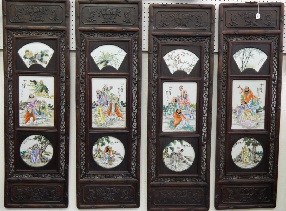 4 CHINESE FAMILLE ROSE IMMORTALS STORY WALL PANELS