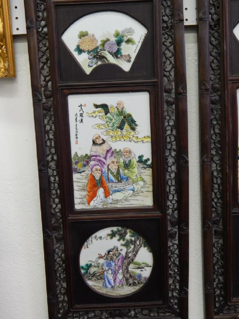4 CHINESE FAMILLE ROSE IMMORTALS STORY WALL PANELS - 2