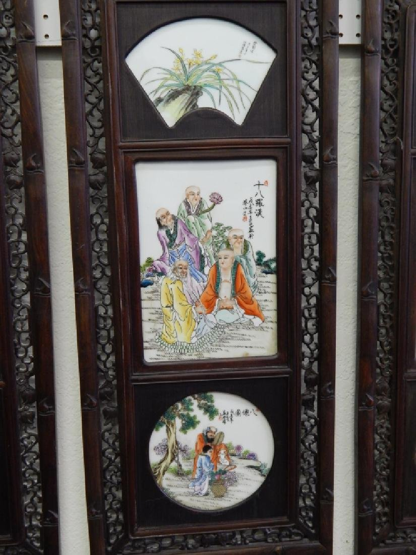 4 CHINESE FAMILLE ROSE IMMORTALS STORY WALL PANELS - 3