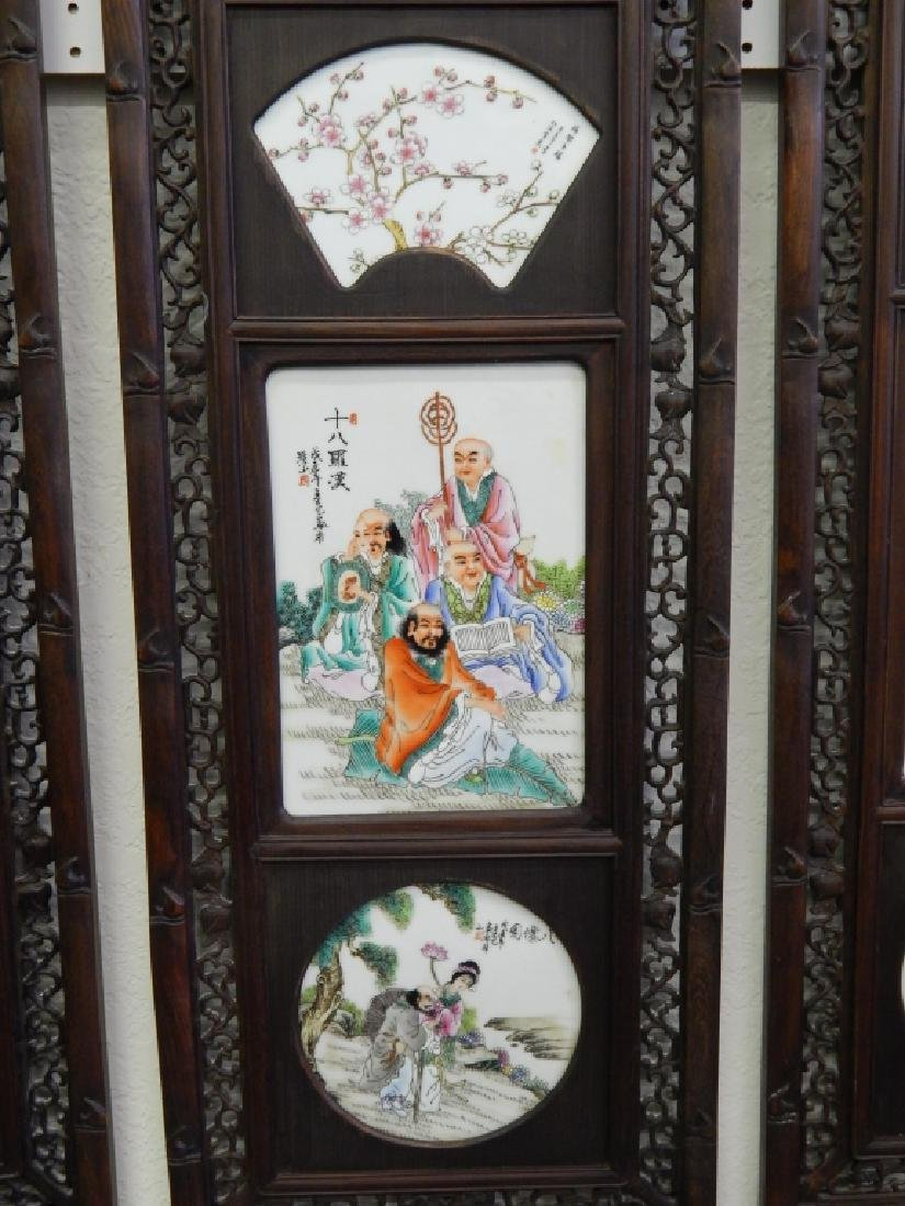 4 CHINESE FAMILLE ROSE IMMORTALS STORY WALL PANELS - 4
