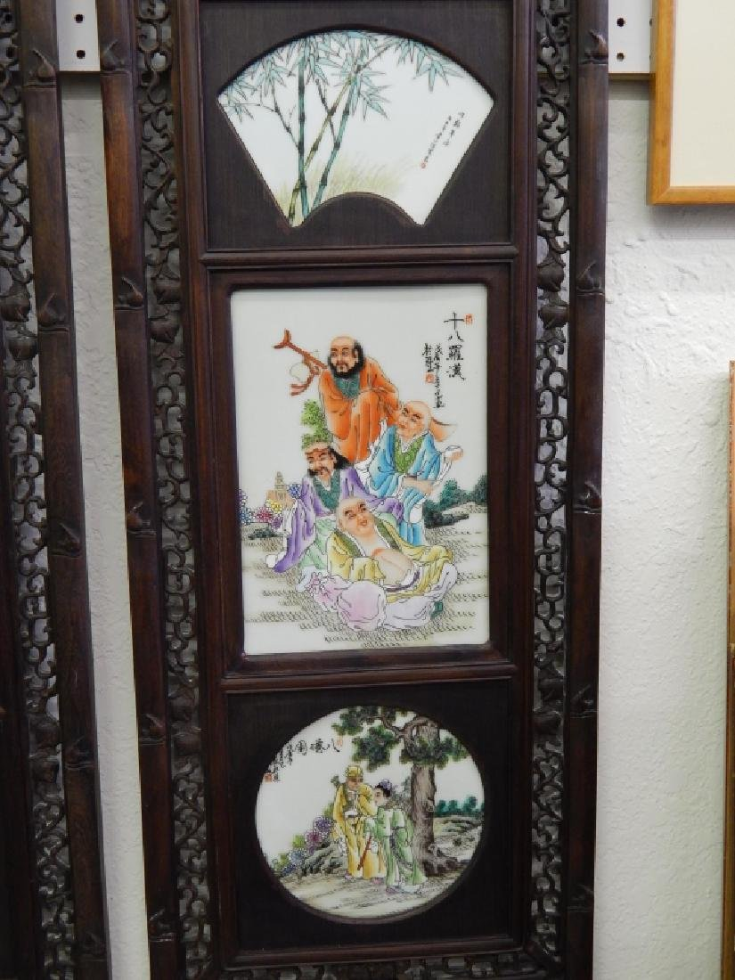 4 CHINESE FAMILLE ROSE IMMORTALS STORY WALL PANELS - 5