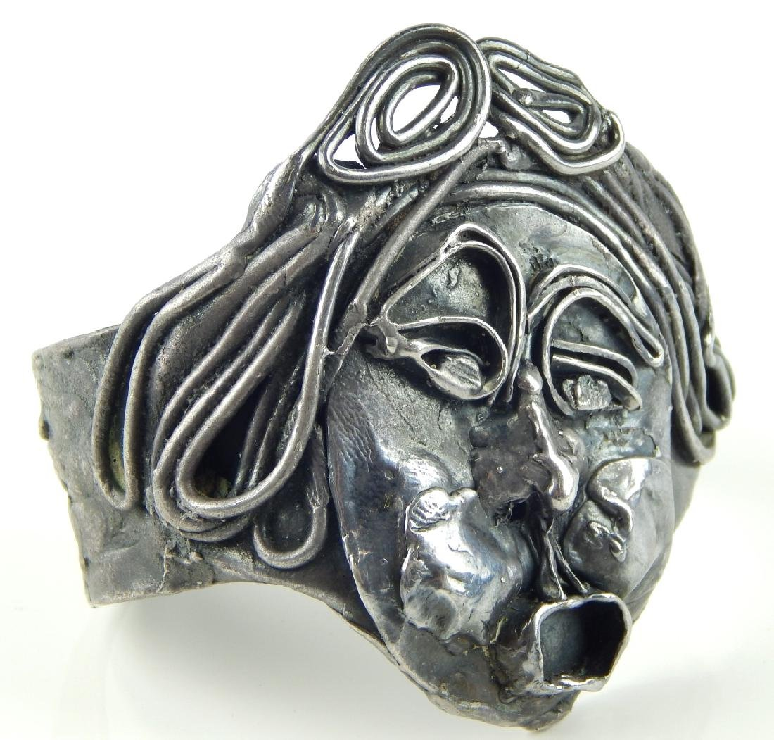 HAND CRAFTED SIGNED 975 SILVER FACE CUFF BRACELET