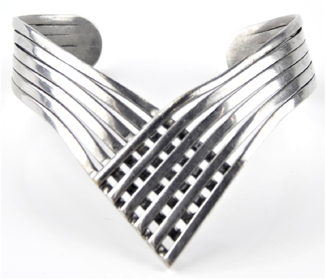 STERLING SILVER 6 BAND CHEVRON CUFF BRACELET