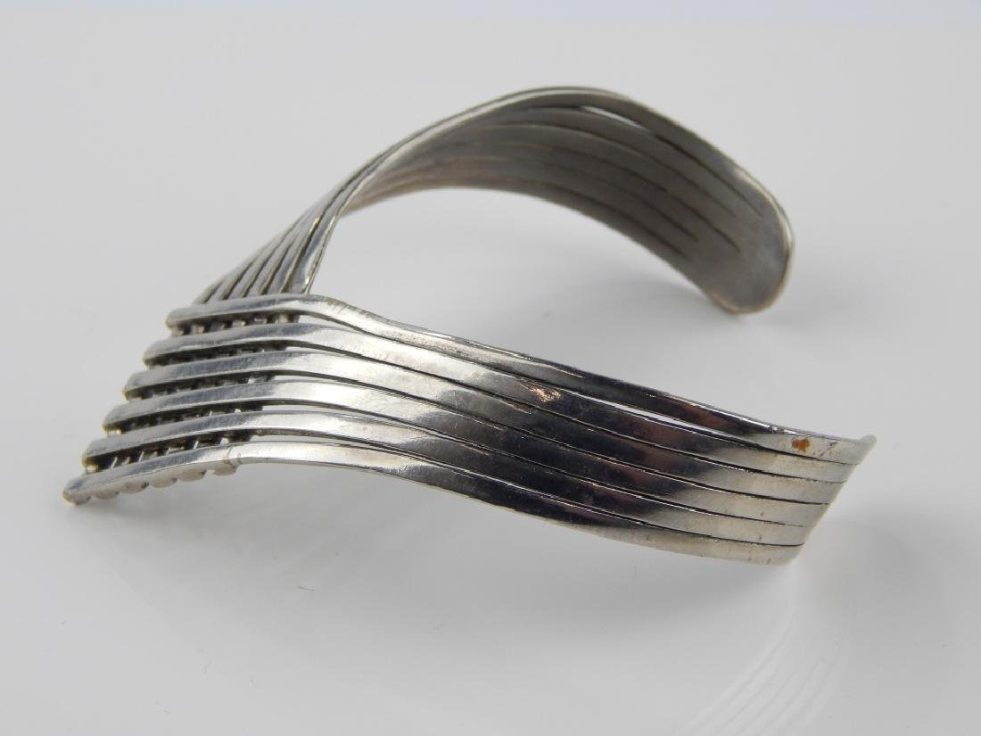 STERLING SILVER 6 BAND CHEVRON CUFF BRACELET - 2