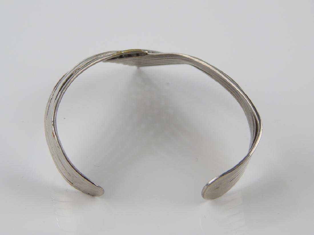 STERLING SILVER 6 BAND CHEVRON CUFF BRACELET - 3