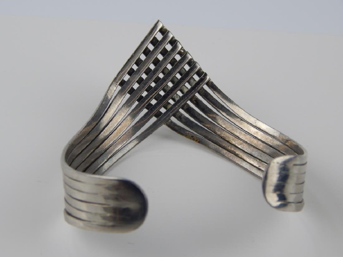 STERLING SILVER 6 BAND CHEVRON CUFF BRACELET - 4