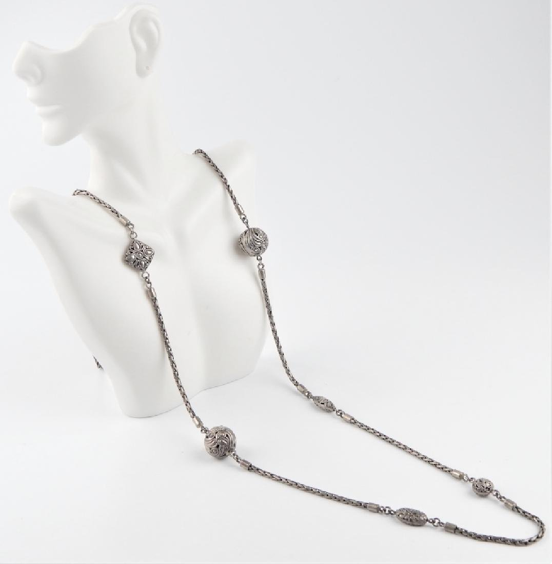 VINTAGE STERLING SILVER WOVEN WHEAT LINK NECKLACE - 2