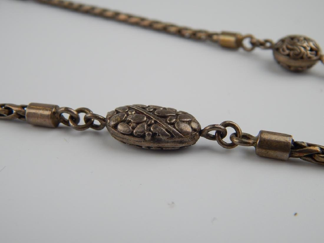 VINTAGE STERLING SILVER WOVEN WHEAT LINK NECKLACE - 3