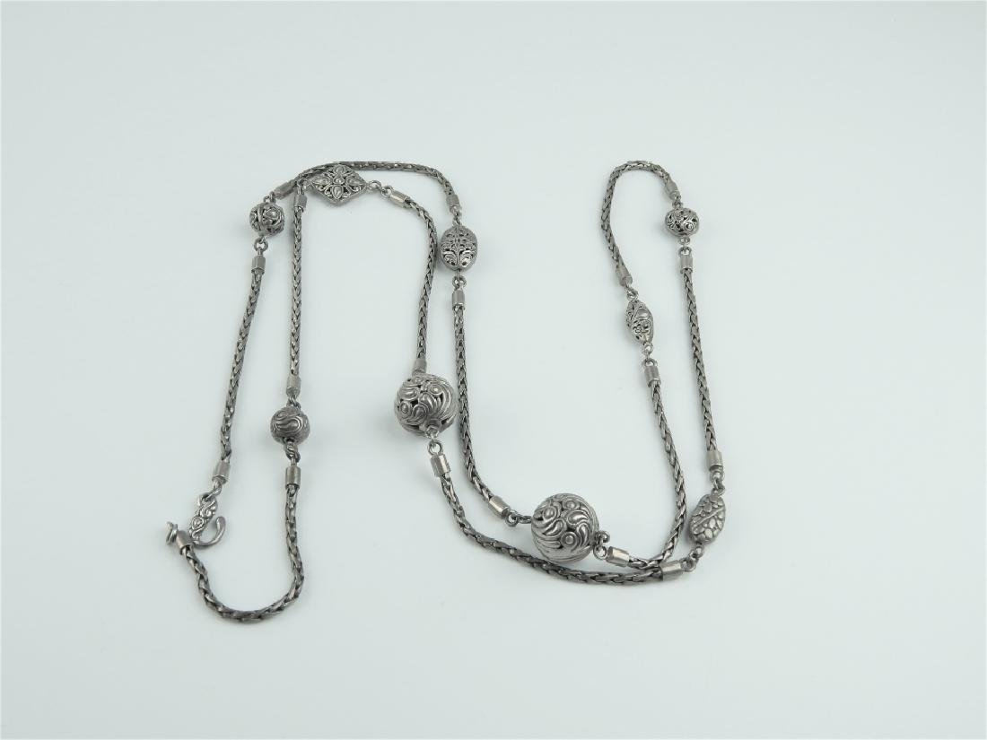 VINTAGE STERLING SILVER WOVEN WHEAT LINK NECKLACE - 6