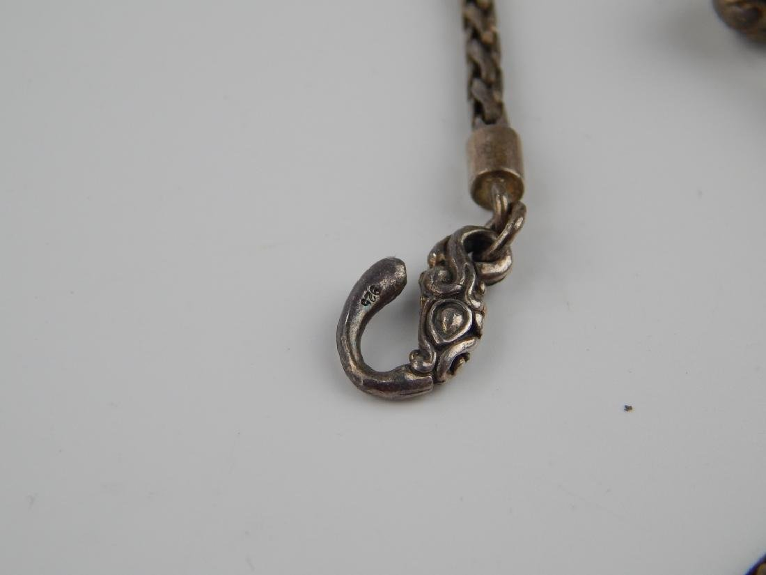 VINTAGE STERLING SILVER WOVEN WHEAT LINK NECKLACE - 8