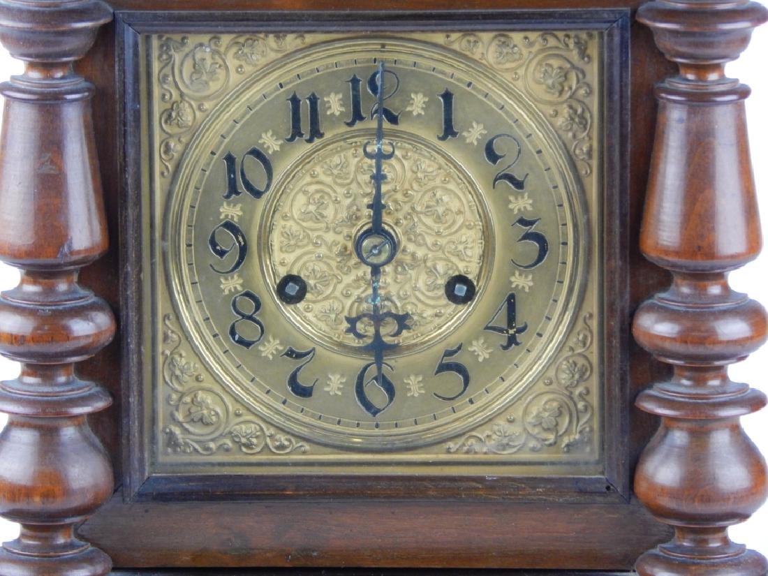 ANTIQUE GILT DIAL WOODEN BRACKET MANTEL CLOCK - 2