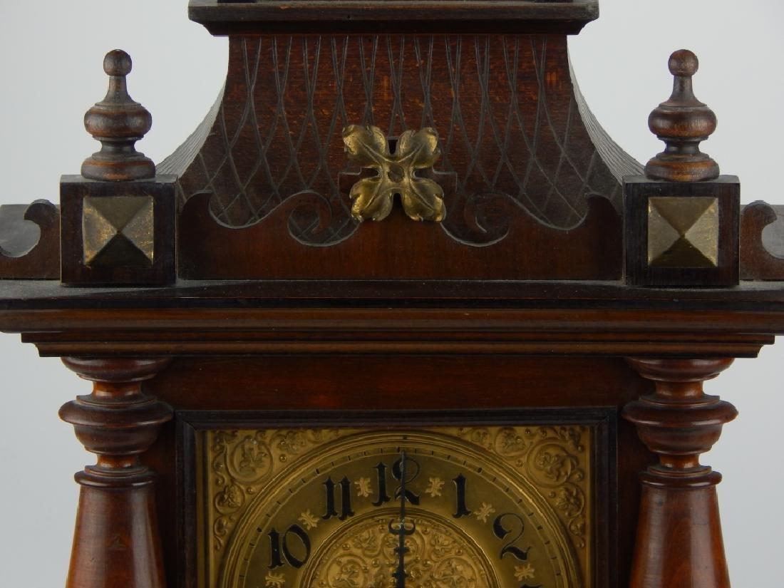 ANTIQUE GILT DIAL WOODEN BRACKET MANTEL CLOCK - 6