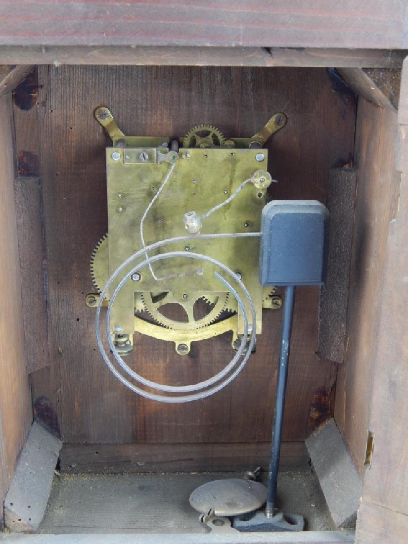 ANTIQUE GILT DIAL WOODEN BRACKET MANTEL CLOCK - 9