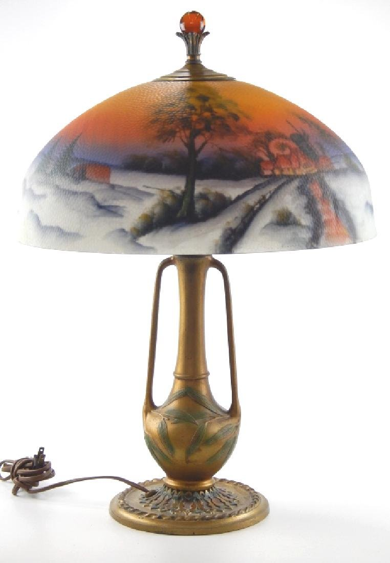ART NOUVEAU LAMP w REVERSE PAINTED SCENIC SHADE