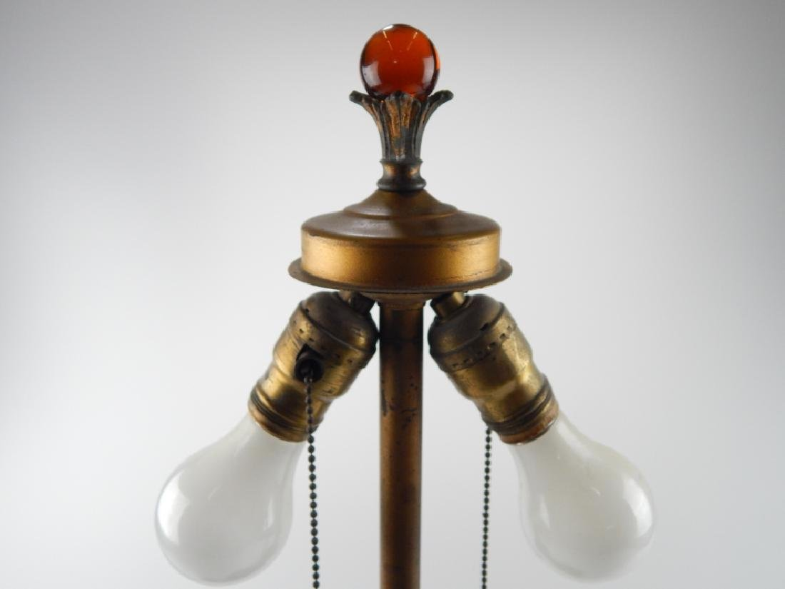 ART NOUVEAU LAMP w REVERSE PAINTED SCENIC SHADE - 3